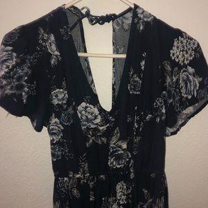 Navy Blue Floral Maxi Dress